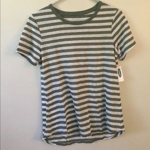 Old Navy green and white striped tee
